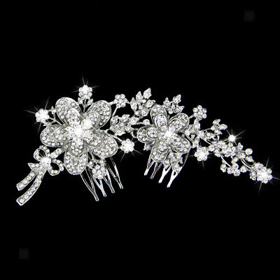 Wedding Double Hair Comb Flower Hair Accessories Rhinestone Bridal Hairpiece