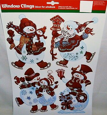 Christmas Window Clings SNOWMAN DRESSED UP ALL IN RED