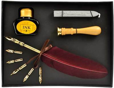 Wicca Ritual Calligraphy Set with Quill Sealing Wax Stamp & Interchangeable Tips