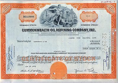 Commonwealth Oil Refining Company Stock Certificate Puerto Rico