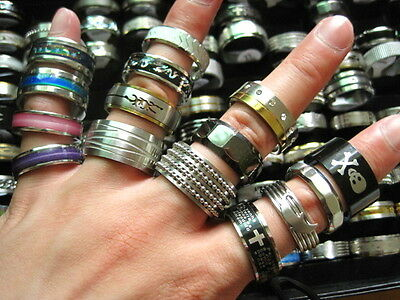 new 25pcs mixed styles men's large sizes stainless steel rings free post