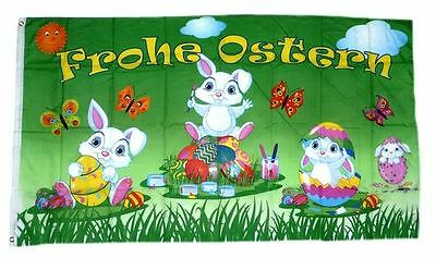 Flagge / Fahne Frohe Ostern Hasen Hissflagge 90 x 150 cm
