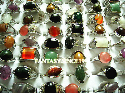 wholesale 100PCs mixed styles women's stone alloy rings with a display tray
