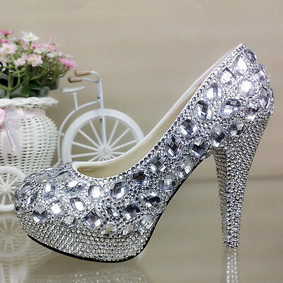 Crystal Sparkly Bridal High Heel Wedding Bridesmaid Prom Shoes bling size 5-12