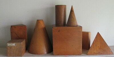 antique wooden geometric shapes very big size !