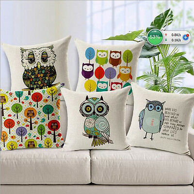 Vintage Linen Cotton Couch Sofa Cushion Cover Throw Pillow - Owl 45X45 cm