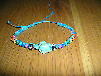 New Turtle Turquoise Coloured Waxy Wristband On Blue With Rainbow Beads Ethnic