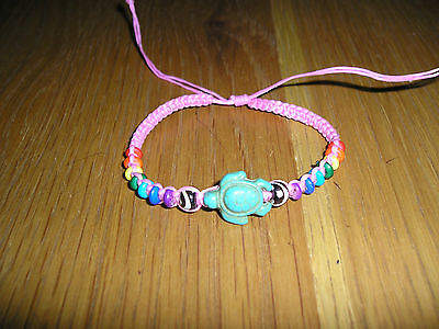 New Turtle Turquoise Coloured Waxy Wristband On Pink With Rainbow Beads Ethnic