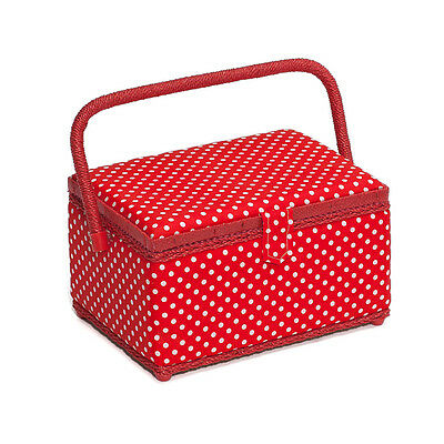 NEW Hobby Gift MRM/19 | White Spots On Red Medium Sewing Basket | FREE SHIPPING
