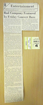1979 Bad Company Lubbock Texas Ticket Stub Run With The Pack Paul Rodgers
