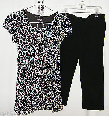 My Michelle - Animal Print Top w/ Silver Sequins & Capri Leggings - Size 16