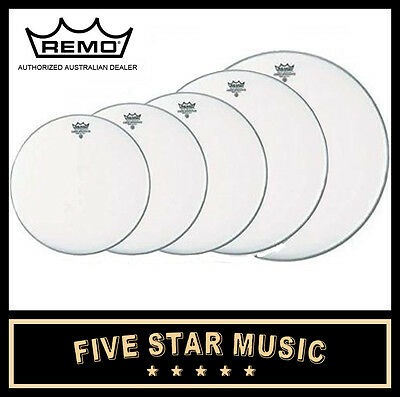 "Remo Silent Stroke 5 Pce Drum Skin Fusion Set 10"" 12"" 14"" 22"" Heads New"