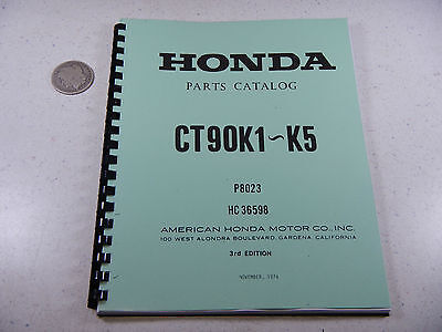 69-74 HONDA CT90 CT Trail 90 K1-K5 Parts Fiche Fish Diagram Book Manual Catalog