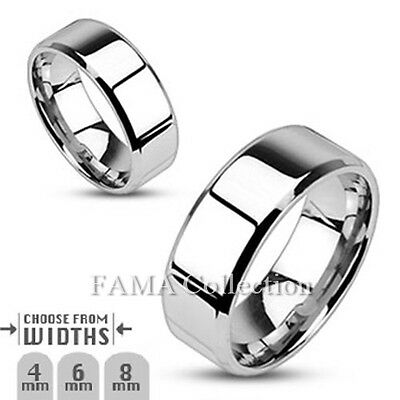 FAMA Stainless Steel Mirror Polished Flat Wedding Band with Beveled Edge Ring