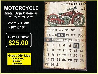 INDIAN SCOUT MOTORCYCLE TIN METAL SIGN PERPETUAL CALENDAR 25cm x 40cm Reduced