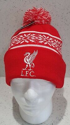 Liverpool Official Adult Snowflake Style Bobble Hat Red and White - Gift Idea!