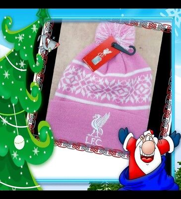 Official Kids Liverpool Snowflake Style Bobble Hat Pink and White Gift Idea!