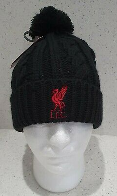 Liverpool Official Cable Style Bobble Hat - Black - Great Gift Idea! NEW DESIGN