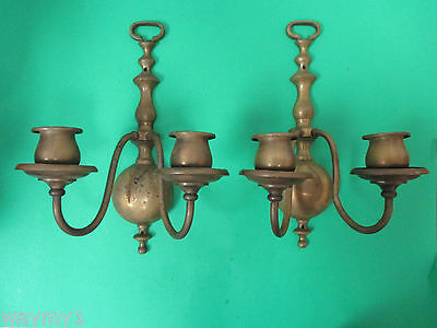 Pair Of Vintage Brass Candle Wall Sconces Marked RMC 319