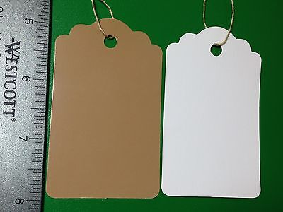 200 LARGE Scalloped KRAFT Print  Paper Merchandise Price Tags STRUNG