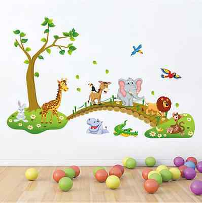 Forest Animal Cartoon kindergarten Removable Wall Stickers For Kids Rooms Decor