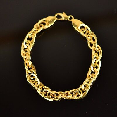 18K Yellow Gold Double Cable Chain Bracelet L:8 inches W:9mm