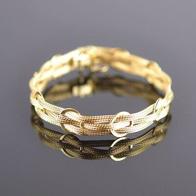 14K Yellow Gold Unique Bracelet L:7.25 inches W:1mm