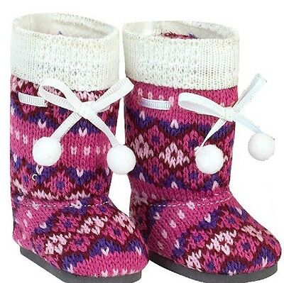 AG Doll Knit Pom-pom Boots Fits American Girl 18 Inch Doll Boots