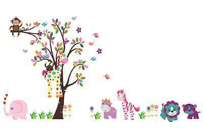 Beautiful Tree with Owl Monkey Giraffe Elephant Wall Sticker Decal