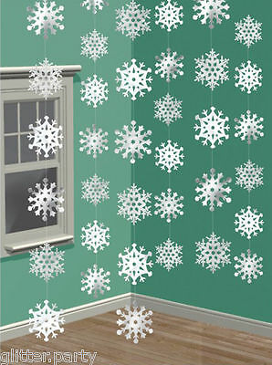 6 Christmas Party Shimmering Hanging Snowflake String Decorations Disney Frozen