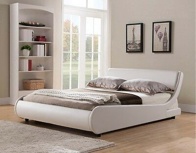 Griffin Italian Modern Designer Low Frame 4ft6 Double White Faux Leather Bed