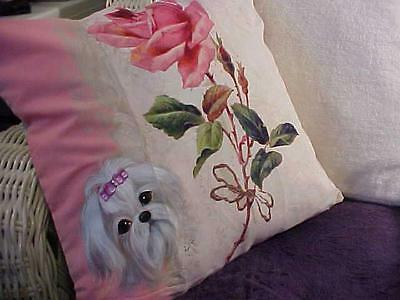 Maltese  Hand Painted On A Pillow With A Rose Just Gorgeous!