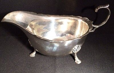 Vintage Solid Silver Hallmarked Gravy / Sauce Boat 1941 By Ernest W Haywood