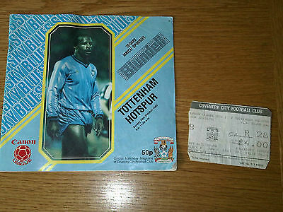Vintage Coventry City Football Club v Tottenham Hotspur Magazine/Programme 1985