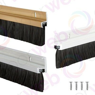 BRUSH STRIP DRAUGHT EXCLUDER Draft Door Bottom Seal Stormguard Aluminium 838mm