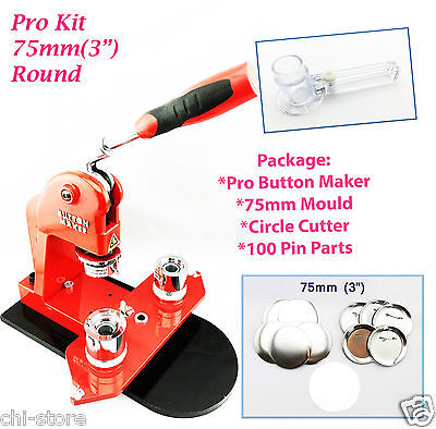 "(75mm(3"")KIT) NewPro Badge Machine Button Maker+Mould +100Pin Parts+Circle Cutte"