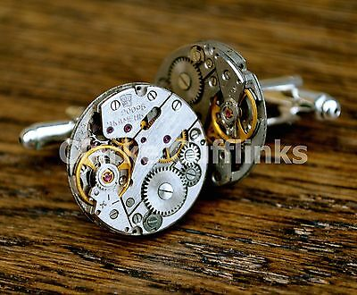 Watch Movement Mens Cufflinks Steampunk Vintage Wedding Groom Gift Present
