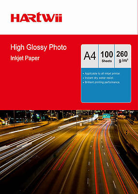 100 Sheets A4 260 Gsm High Glossy Photo Paper  Inkjet Paper Printer Hartwii AU