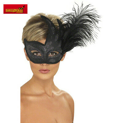 Venetian Style Masquerade Black Glitter Mask with Feathers Prom Ball Fancy Dress