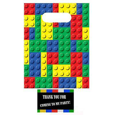 24 Brick Blocks Party Favor Treat Bags & Tags - LEGO Inspired Party Supplies