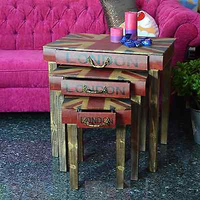 Nested Table Bedside Table Console Table Wood Union Jack Vintage Industrial