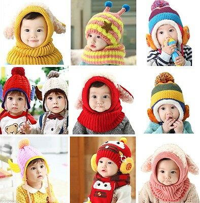 Baby Toddler Winter Beanie Warm Hat Hooded Scarf Earflap Knitted Cap Girls Boys