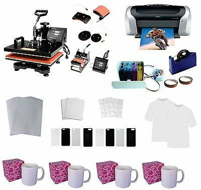 5 in 1 Professional Sublimation Heat Press Machine Epson Printer C88 CISS KIT