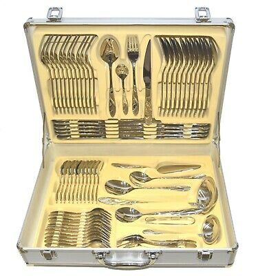 84 Piece Stainless Steel Full Silver Detail Supreme Quality Table Cutlery Set