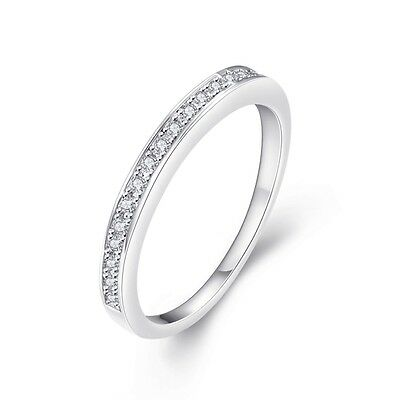 925 Sterling Silver Women White Gold Filled Womens Wedding Engagement Band Ring