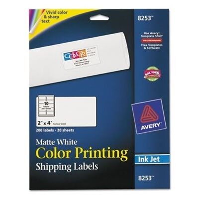 Inkjet Labels for Color Printing, 2 x 4, Matte White, 200/Pack