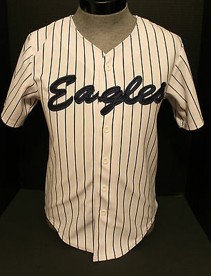 Eagles Youth Button Down White Navy Blue Pinstriped #27 Baseball Jersey L 34/36