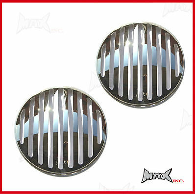 "Chrome Grill Headlight Covers - Fits Ford F-100 with 7"" round driving lights"