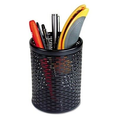 Urban Collection Punched Metal Pencil Cup, 3 1/2 x 4 1/2, Black