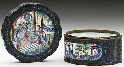 Antique Chinese Canton Enamel Lidded Figural Box 18Th C.
